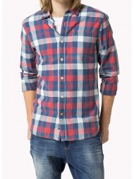 "Hilfiger Denim ""Arnold"" Long Sleeve Bold Check Shirt - Red Indigo & Navy"