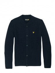 Lyle & Scott Grid Stitch Cardigan With Bomber Collar In New Navy - KN303CL