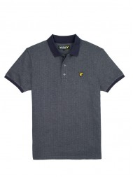 Lyle & Scott Jacquard Herringbone Polo Shirt In New Navy - SP317CL