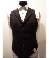 "Remus Uomo ""Trevi"" Wool Mix Check Waistcoat In Grey - Slim Fit"