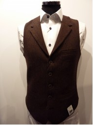 "Remus Uomo ""Trevi"" Wool Check Waistcoat In Brown - Slim Fit"