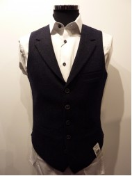 "Remus Uomo ""Trevi"" Wool Check Waistcoat In Navy Blue - Slim Fit"