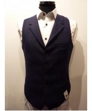 """Remus Uomo """"Trevi"""" Wool Tweed Waistcoat In Navy Blue - Slim Fit"""
