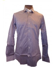 Remus Uomo Slim Fit Navy Shirt With White Polka Dots