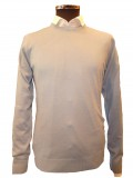 Remus Uomo Crew Neck Merino Blend Sweater In Pale Blue