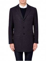 "Remus Uomo ""Bowden"" Tapered fit wool-rich Overcoat In Navy"