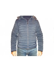 Aquascutum Emmett diamond Quilted Hooded Jacket In Navy Blue