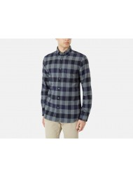 Aquascutum Club Check Flannel Cotton Shirt - Grey & Navy Check