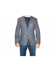 "Douglas ""Valentino"" Single Breasted Regular Fit Check Tweed Jacket - Blue"