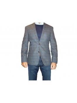 "Douglas ""Valentino"" Single Breasted Regular Fit Check Tweed Jacket - Blue"