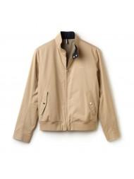 Lacoste Zippered Harrington jacket in cotton twill - Classic beige with navy trim - BH6255-00