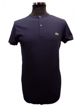 Lacoste Buttoned crew neck t-shirt in solid pima - Navy blue - TH3948 00 166