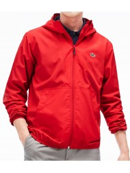 Lacoste Men's Hooded zippered jacket in unicolor nylon - Red - BH5431