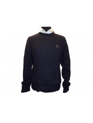"Luke ""Hortons"" Cable Knit Jumper In Lux Navy Fleck - 100% Cotton -"