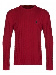 "Luke ""Hortons"" Cable Knit Jumper In Lux Red - 100% Cotton -"