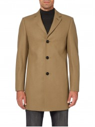 Remus Uomo Tapered fit, wool-rich overcoat in Sand - 90141-55