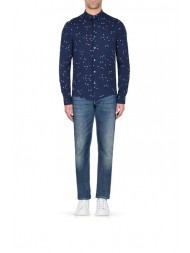 Armani Jeans Long Sleeve Shirt In Navy With Repeat Print AJ Logo - 3Y6C09