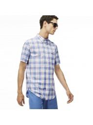 Lacoste Men's Regular Fit Checked Cotton Poplin Shirt - CH5671 00 UQR