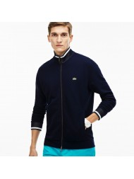 Lacoste Men's Contrast Finishes Zippered Fleece Sweatshirt In Navy - SH1921-00