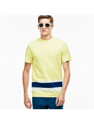 Lacoste Men's Crew Neck Colorblock Band Jersey T-shirt In Yellow - TH3015 00 YLJ