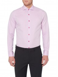 Remus Uomo Tapered Fit Subtle Weave Shirt In Pink - 17293_63
