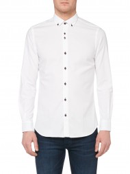Remus Uomo Tapered Fit Plain Oxford Casual Shirt In White - 561 17351 01