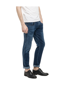 Replay Anbass Slim Jeans - Medium Wash Dark Indigo With Fading