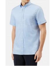Aquascutum Short Sleeve Oxford Shirt In Pale Blue