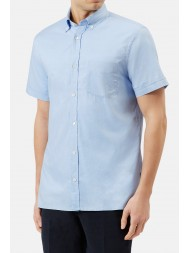 Aquascutum Short Sleeve Oxford Shirt In Pale Blue