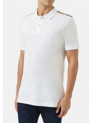 "Aquascutum ""Hill"" Club Check Pique Polo In White"