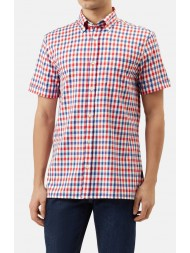 Aquascutum Emsworth Short Sleeve Club Check Shirt In Red White & Navy