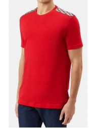 "Aquascutum ""Noel"" Club Check Cotton T Shirt In Red"