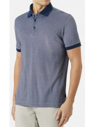"Aquascutum ""Wallace"" Contrast Pique Polo In Blue"
