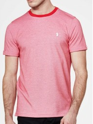 "Luke ""Special Charmers"" crew neck pique T shirt in marina red - ZM350101"