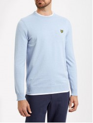 Lyle & Scott Cotton & Merino Mix Crew Neck Sweater In Blue Marl KN400V