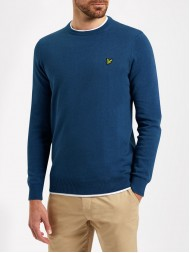 Lyle & Scott Cotton & Merino Mix Crew Neck Sweater In True Blue KN400V