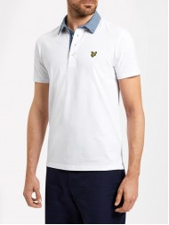 Lyle & Scott Woven Collar Polo Shirt In White - SP607V