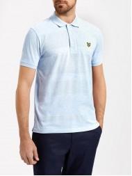 Lyle & Scott Mouline Textured  Stripe Polo Shirt In Sky Blue Marl - SP614V