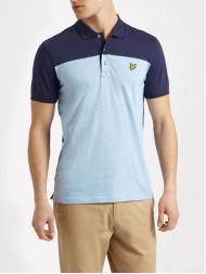 Lyle & Scott Jersey Fabric Yoke Polo Shirt In Navy & Pale Blue  - SP620V