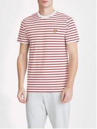 Lyle & Scott Crew Breton Stripe T Shirt - Off White & Racing Red -  TS508V