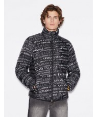 Armani Exchange Quilted Jacket With All-Over Lettering In Black -  6GZB06-ZNQSZ-6128