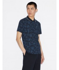 Armani Exchange Paisley Polo Shirt In Navy Blue -  6GZFBB-ZJM5Z-6590