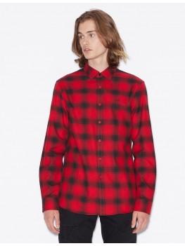 Armani Exchange Black & Red Check Plaid Shirt - 6GZC27-ZNMEZ-5430
