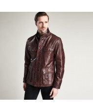 Barbour International John Leather Jacket In Red / Brown - MLT0079BR59