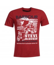 Barbour International Steve McQUEEN Collage T-shirt In Washed Red - MTS0610RE59