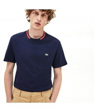Lacoste Men's Regular Fit Contrast Stripe Crew Neck Cotton T-shirt In Navy - TH8560 00 166