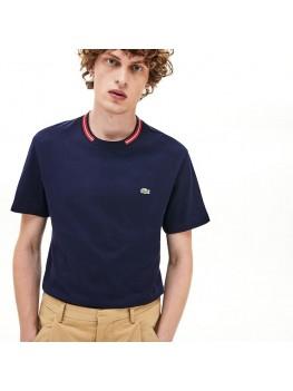 Lacoste Men's Regular Fit Contrast Stripe Crew Neck Cotton T-shirt In Navy - TH8560 00 166