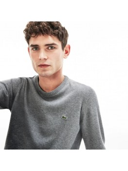 Lacoste Men's Crew Neck Cotton Jersey Sweater In Pale Grey - AH3467-00 A83