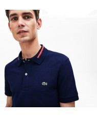 Lacoste Slim Fit Striped Accents Cotton Piqué Polo Shirt In Navy Blue - PH8522 00 166