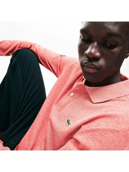 Lacoste classic fit long-sleeve polo in marl petit piqué - Light Red - L1312 00 KU2